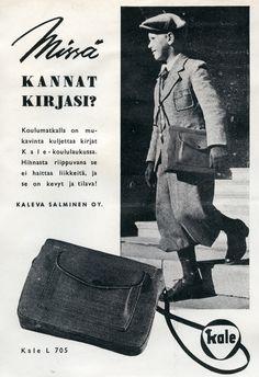 #kaleva Salminen Oy #Erva-Latvala Oy #Kale-koululaukku #Koululaukku #Vuosi 1942 #Skolväska #School bag