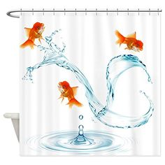 CafePress Splashing Goldfish Decorative Fabric Shower Curtain * Continue to the product at the image link.