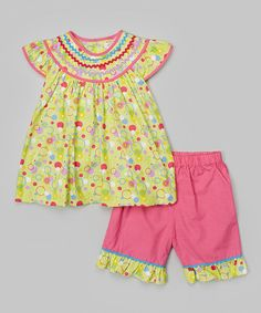 Love this Lime & Pink Smocked Angel-Sleeve Top & Shorts - Infant & Toddler on #zulily! #zulilyfinds
