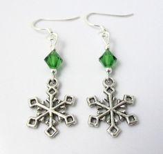 Snowflake Earrings Christmas Earrings Winter by BeadBrilliant, $16.00