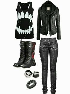 Just minus the jewelry and the spikes on the jeans. Just minus the jewelry and the spikes on the jeans. Cute Emo Outfits, Punk Outfits, Gothic Outfits, Grunge Outfits, Girl Outfits, Fashion Outfits, Cute Emo Clothes, Jeans Outfits, Batman Outfits