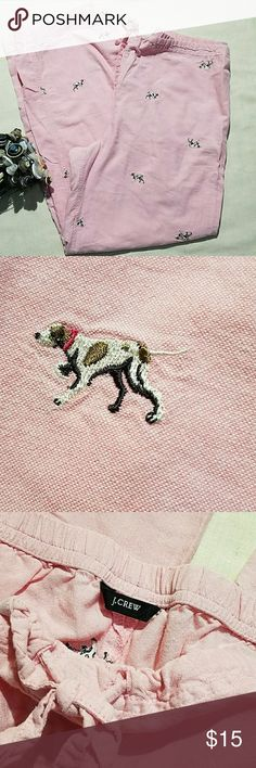 "J.Crew p.j. pants Pink chambray bottoms with embroidered dogs. Look like a size XL, but the size tag is cut out. The flat waist measures 17.5"" and is an elastic back with a drawstring front. Good condition. J. Crew Intimates & Sleepwear Pajamas"