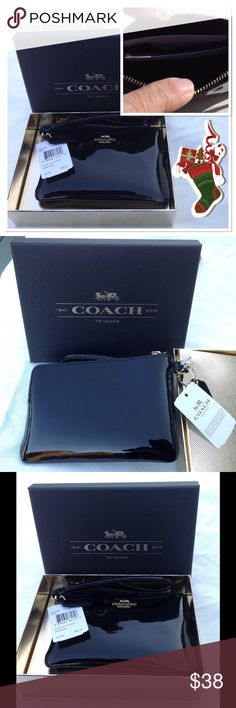 NWT Coach Black Patent Leather Small Wristlet Wonderful gift! Beautiful black patent leather small wristlet in a gift box. Great for small essentials. Can be used alone or inside of another bag. Area to hold two cards inside. Size 6 (L) X 4 (H). Sorry, price is firm and no trades. Coach Bags Clutches & Wristlets