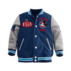 4e1d27a07 Personalizable Mickey Mouse Varsity Jacket for Boys ($35) ❤ liked on  Polyvore featuring baby, baby boy clothes, baby boy and baby clothes