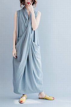 Gray Sleeveless Cross Summer long dresses Causal Dresses Plus Size Ove | FantasyLinen