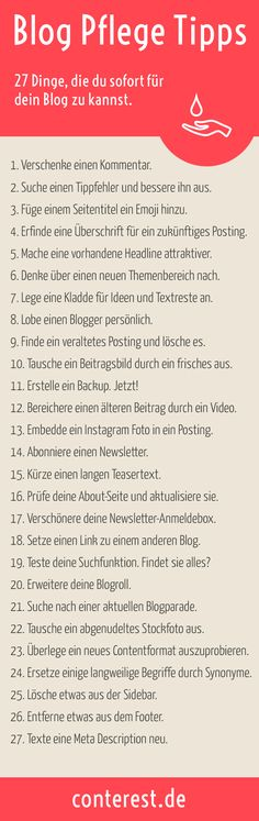 """Noch mehr Tipps gibt es in der """"Blog Pflege Fibel"""". Gratis Download für Blogger in der Conterest Blog Bibliothek. PDF & ePUB. Greif zu!"""