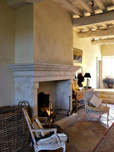 Manufacturer of stone fireplace in the Gers - Home Fireplace, Stone Fireplace, Fireplace Design, Fireplace Mantel Designs, Fireplace Mantel Decor, French Fireplace, Fireplace Surrounds, House Interior, Cottage Renovation