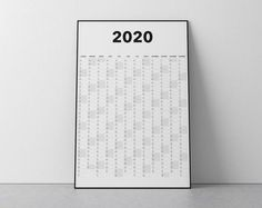 2020 Calendar Blank Vertical Yearly View Extra Large Wall   Etsy Large Wall Calendar, Blank Calendar, Yearly Calendar, Got Print, Printable Wall Art, Messages, How To Plan, Hair Styles, Etsy