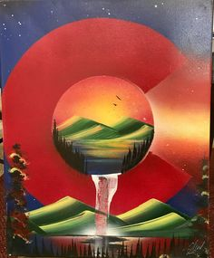 "Colorado Nature. This piece is an original spray paint art painting. I include various sizes for you to pick from aswell as choices between canvas and poster board. Canvas: does not need to be framed, made from cloth, will not fade or crack over time. Poster board: high gloss paper, paint will not fade or crack over time. With poster board there is ONLY 1 size 14X22"" and with canvas there a many more. The detail will remain the same in the painting and in some occasions can add..."