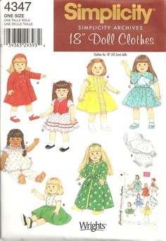 "SIMPLICITY Archives 4347 18""  DOLL CLOTHES SEWING PATTERN #SIMPLICITY"