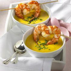 Kartoffelcreme-Süppchen mit Garnelen Rezept | LECKER