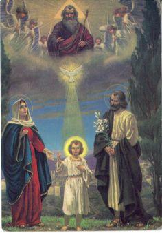 Holy Family and Trinity Catholic Beliefs, Catholic Prayers, Catholic Art, Catholic Saints, Christianity, Roman Catholic, Religious Images, Religious Art, Religion