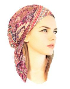 Fuchsia pink ethnic head scarf hippie boho chic by ShariRoseShop