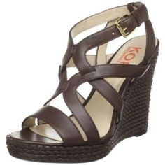 Kors Michael Kors Leather Wiley Brown Braided Wedge 7M [Apparel] [Apparel]