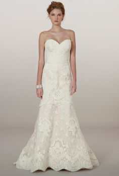 Brides.com: Our Favorite Lace Wedding Dresses from the Bridal Runways. Style 5862, french Alençon lace on embroidered tulle sweetheart strapless trumpet wedding dress, Liancarlo  See more Liancarlo wedding dresses.