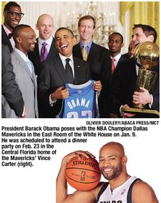 2011 NBA Champion Dallas Mavericks pose with President Obama in the White House.  #vincecarter #dirknowitski #jasonkidd