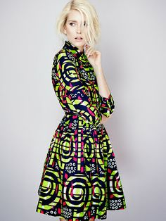 Shirt Dress - African print dress by Sika  Block Colours Ghanaian Designer  Hide and Sika | Its All Bee  www.itsallbee.com
