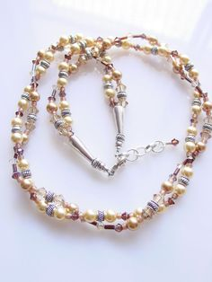 Swarovski Crystal and Pearl Twisted Necklace by frisado. Explore more products on http://frisado.etsy.com