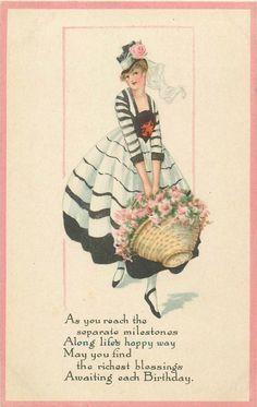 Postcard Art Deco Glamour Pretty Lady for Birthday Greetings 3 Cards | eBay