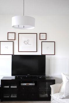 Frame around tv, tv entertainment wall, tv decor, wall decor, tv display Living Room Decor, Bedroom Decor, Tv Wall Decor, Wall Tv, Home Decor Inspiration, Decor Ideas, Wall Ideas, Beautiful Space, Home And Living