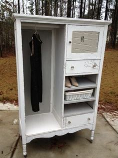 """Restored """"chic"""" ~designs by Brie: Shabby chic repurposed wardrobe Arranging Bedroom Furniture, Bedroom Furniture Makeover, Kids Bedroom Furniture, Diy Pallet Furniture, Repurposed Furniture, Furniture Ideas, Shabby Chic Accent Table, Shabby Chic Vanity, Sideboard Decor"""