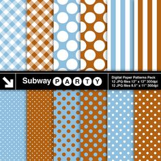 Baby Blue Brown & White Polka Dots Stripes and by subwayParty