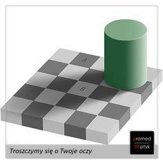 Kwadrat A i kwadrat B są dokładnie tego samego koloru. Czy na pewno? Ach nasze oczy... 🤔 Dla niedowiarków popołudniu dowód. #optyk #optometrysta #okulary #oczy #wzrok #iluzja #ciekawostka