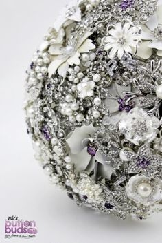 Brooch Bouquet by Nic's Button Buds - Silver, crystals, pearls, bling, ivory, white, cream, lace, purple highlights
