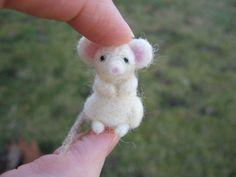 Needle Felted White Mouse Tiny Miniature by LittleElfsToyshop, $16.00