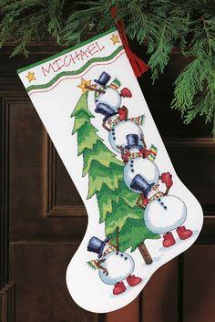 Trimming the Tree Cross-Stitch Christmas Stocking Kit