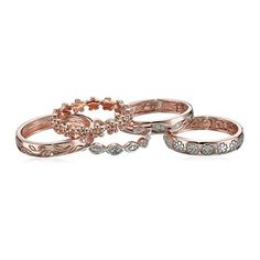 Rose Gold Over Sterling Silver Five Diamond Rings Set 110 cttw IJ Color Clarity Size 8 ** Check out this great product. (This is an affiliate link) Diamond Stacking Rings, Romantic Gifts, Silver Diamonds, Eternity Ring, Jewellery Display, Jewelry Organization, Rose Gold Plates, Wire Jewelry, Jewelry Collection