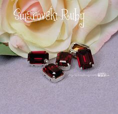 Vintage Ruby Red Octagon 4600 Sew On - Swarovski Crystal 14x10mm in a SP 4-hole Prong Setting Wire Jewelry Supply