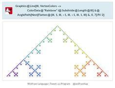 "Graphics@Line[#,      VertexColors -> ColorData@""Rainbow"" /@ Subdivide@Length@#] &@  AnglePath[Nest[Flatten@{#, 1, #, -1, #, -1, #, 1, #} &, 0, 7] Pi/2]"