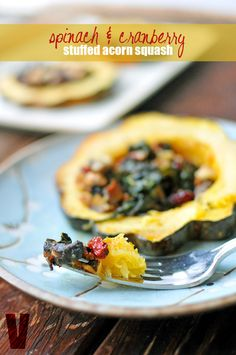 Vegan {Spinach & Cranberry Stuffed Acorn Squash} | Nosh and Nourish