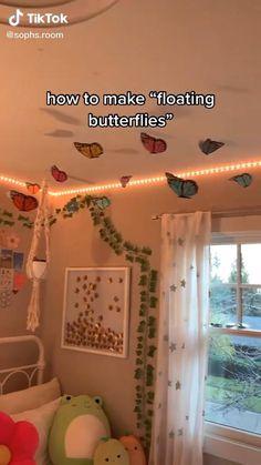 Indie Bedroom, Indie Room Decor, Cute Bedroom Decor, Room Design Bedroom, Room Ideas Bedroom, Diy Room Decor For Teens, Diy Room Decor Videos, Easy Diy Room Decor, Butterfly Room