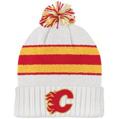 CCM Calgary Flames White Vintage Cuffed Knit Pom Beanie by CCM. $17.99. Officially licensed. 100% Acrylic. Jacquard stripes on crown. Twill applique. Add a little retro look to your style and keep your dome warm with one of these Calgary Flames White CCM Classics Cuffed Pom Knit Hat. Each hat has retro colors of your favorite team with an embroidered team logo on the front. A must-have for any die-hard Flames fan.