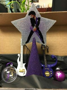 Christmas ornaments and tree topper When The Doves Cry, Music Tree, Prince Tattoos, Party Themes, Party Ideas, Prince Party, Prince Purple Rain, Unique Trees, Rude Boy
