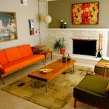 Wool and felted wool, green and orange couch and chairs. Mid Century Modern Living Room, Mid Century Modern Decor, Mid Century Modern Furniture, Mid Century House, Mid Century Design, Midcentury Modern, Modern Retro, Modern Classic, Design Studio