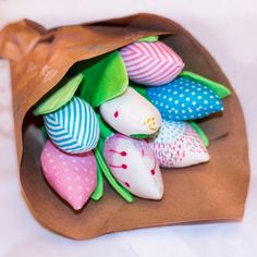 These handmade textile tulips are an excellent gift for all occasion. A great alternative to real flowers - these tulips dont fade. Very elegant look cotton tulips in the interior. With this bouquet you can decorate your kitchen, living room and childrens room.  Made with cotton
