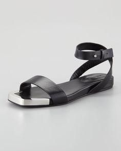 See by Chloe - Metal-Toe Flat Sandal, Black