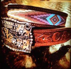Beaded Leather belt by Deesbeadeddogcollars on Etsy