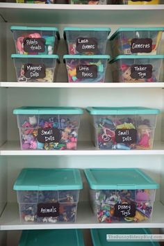 Organization ideas - label toy bins with chalkboard sticker so they can always be updated. Toy Closet Organization, Girls Bedroom Organization, Toy Room Storage, Toddler Room Organization, Storage For Toys, Daycare Storage, Kids Craft Storage, Girls Room Storage, Barbie Storage