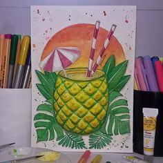 143 Likes, 5 Comments - Gidé Dantas Amazing Drawings, Beautiful Drawings, Easy Drawings, Summer Drawings, Doodle Drawings, Doodle Art, Drawing Sketches, Arte Sketchbook, Color Pencil Art