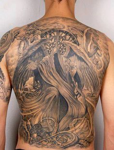 Death angle #tattoo on full back