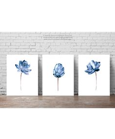 Lotus Flower Illustration Water Flowers Print Floral Painting, Abstract Blue Flower Poster, Watercolor Wall Hanging Navy Wall Decor Set of 3 by ColorWatercolor on Etsy Asian Flowers, Blue Flowers, Water Flowers, Blue Lotus Flower, Floral Flowers, Wild Flowers, Watercolor Walls, Watercolor Flowers, Drawing Flowers