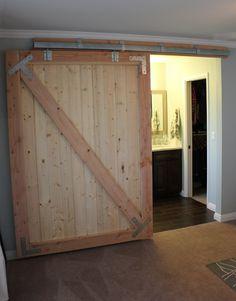 Sliding barn door project.    Part 1: http://www.hausofgerz.com/2011/08/diy-barn-door-part-1/    Part 2: http://www.hausofgerz.com/2011/09/diy-barn-door-part-2/