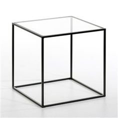 Bout de canapé métal laqué, plateau verre transparent ou blanc Romy