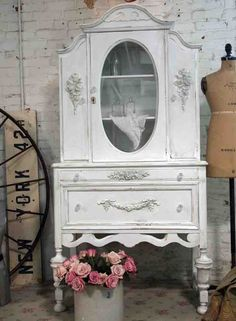 Painted Cottage Chic Shabby OYSTER French China Cabinet [CC383] - $425.00 : The Painted Cottage, Vintage Painted Furniture