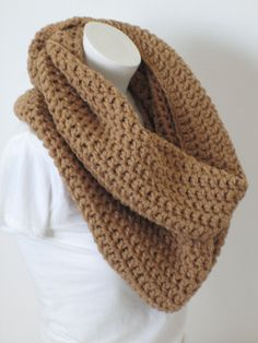 Chunky Infinity Scarf, Oversized Extra Thick, Extra Warm and Extra -Warm Brown by VansBasicWear on Etsy