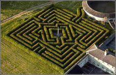 Russborough House maze in Ireland. Designed by Adrian Fisher and Randall Coate. Really very tricky - nice work. The diamond shape at the centre reflects the fact that the House owners were in the diamond trade.
